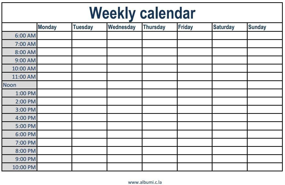 Printable Weekly Calendar With Time Slots Printable Weekly  Weekly Diary Sheets With Hourly Slots