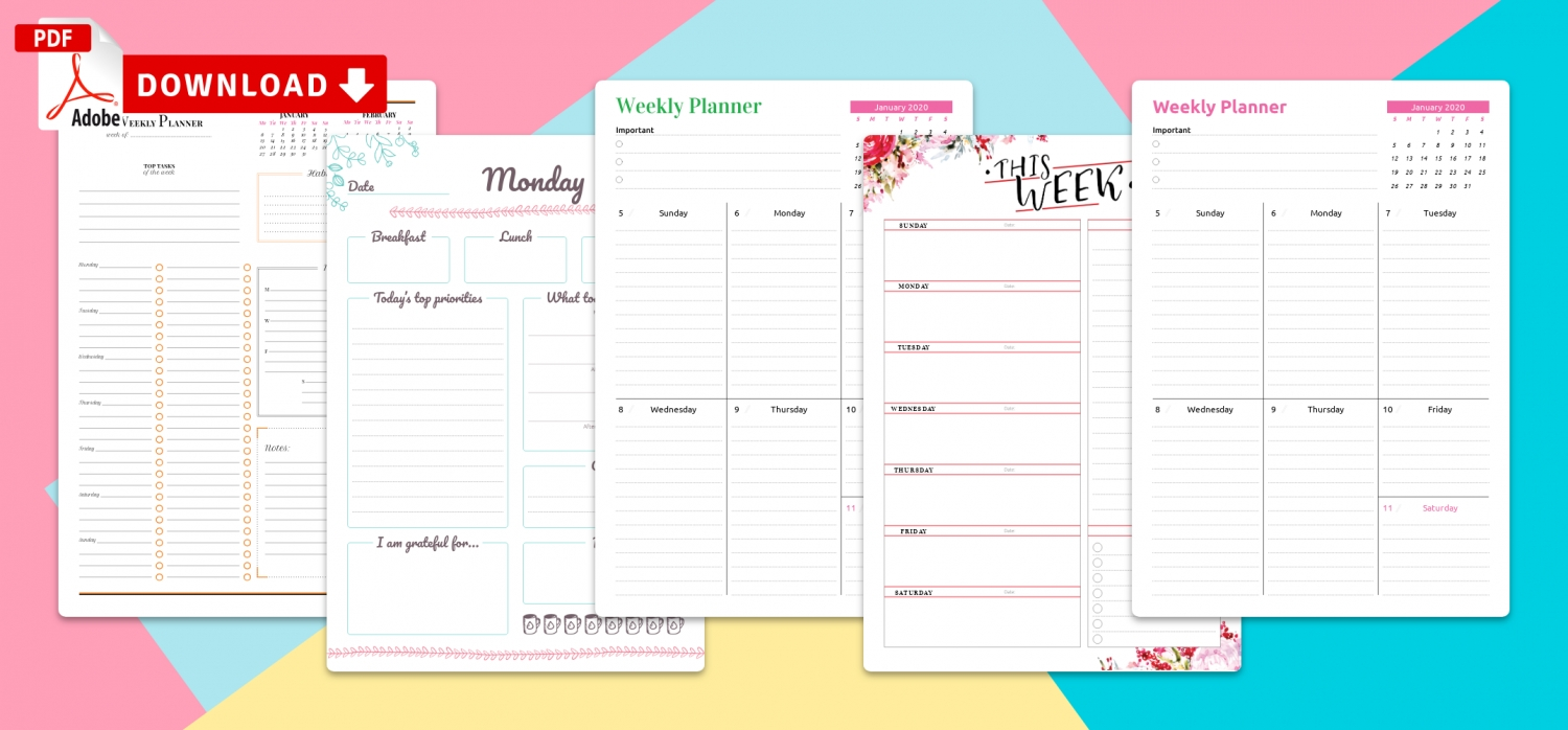 Printable Weekly Planner Templates - Download Pdf  Desktop Scheduler Free Download To Print Out