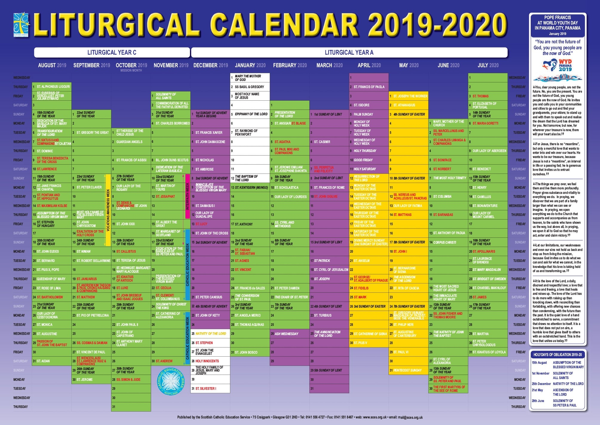 Scottish Catholic Education Service | Sces | Liturgical  Catholic Calendar Of Lent In 2020