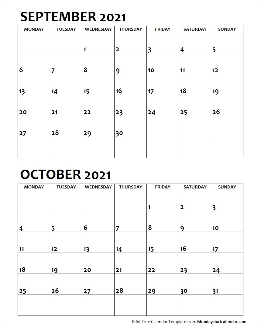 Sep Oct 2021 Calendar Monday Start | Editable Two Months  Two Month Sept And October Calendar 2021