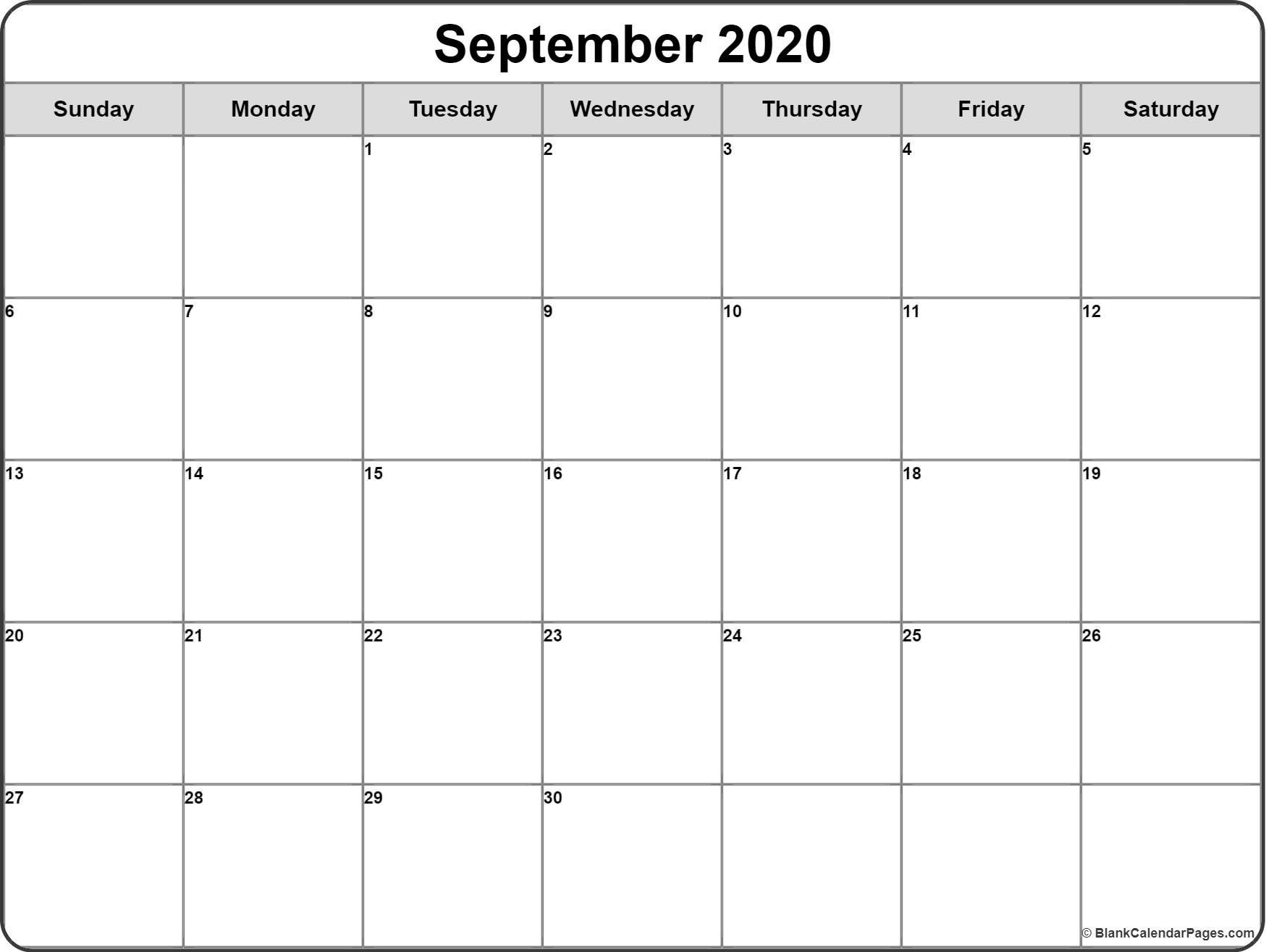 September 2020 Calendar | Free Printable Monthly Calendars  Free Printable Month Calendar