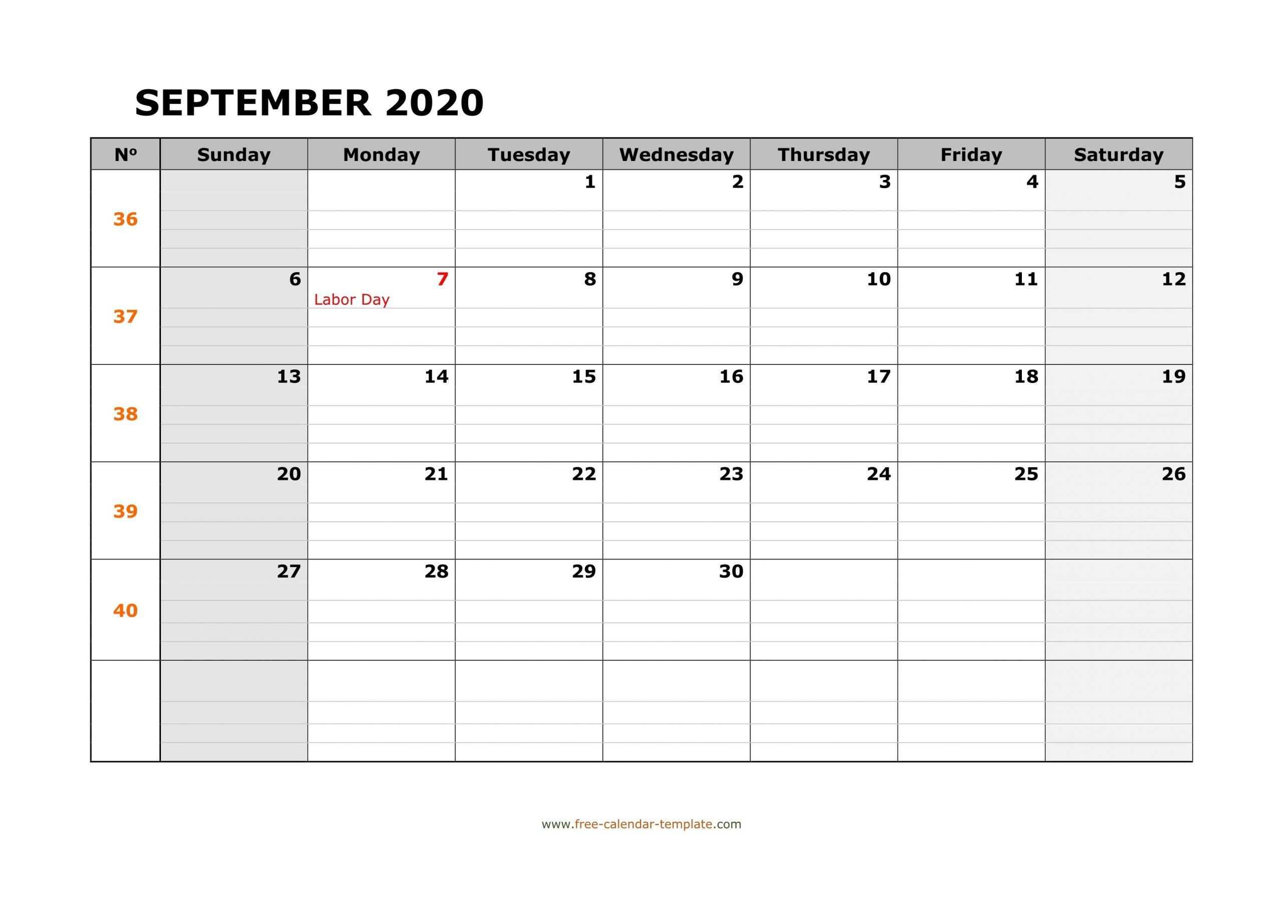 September 2020 Calendar Free Printable With Grid Lines  Printable Calendars With Lines