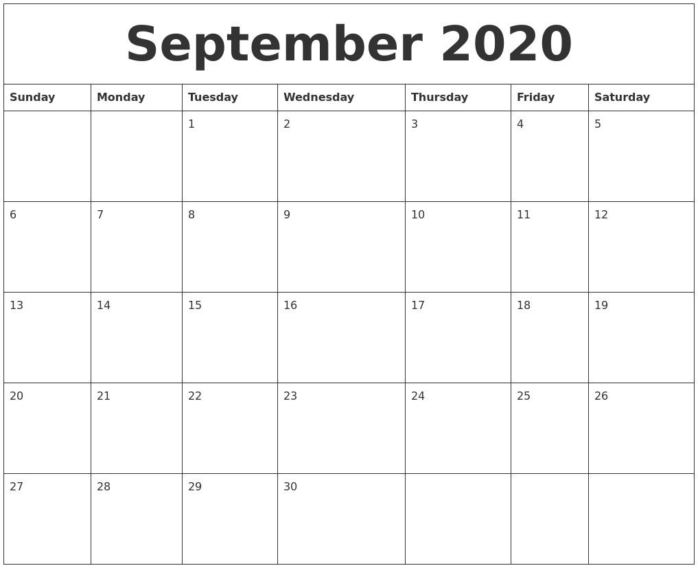 September 2020 Large Printable Calendar  Large Blank Monthly Calendar Template