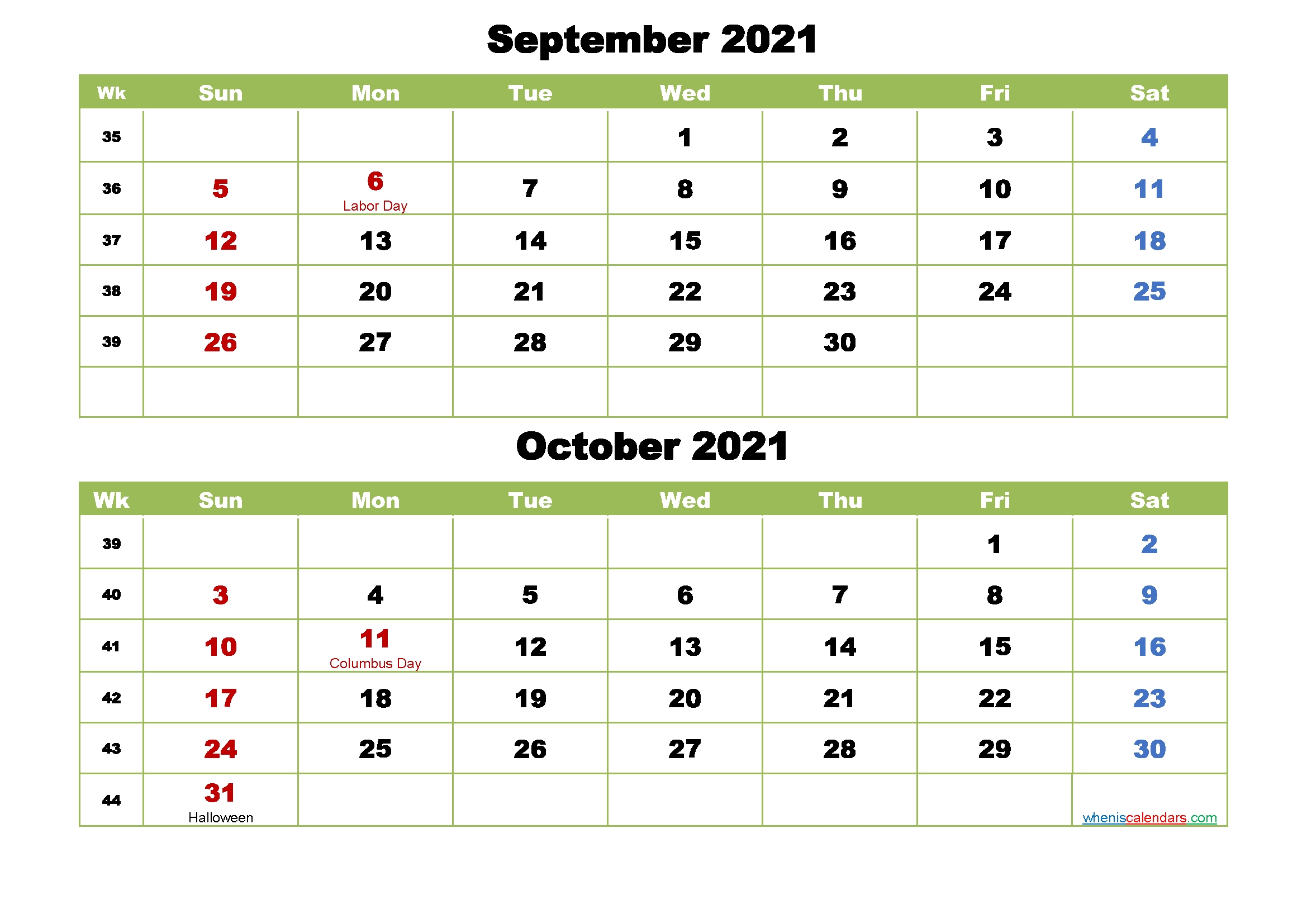 September And October 2021 Calendar With Holidays – Free  Two Month Sept And October Calendar 2021