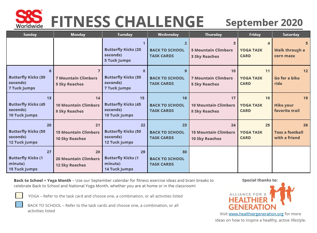 September Printable Fitness Challenge Calendar - S&S Blog  30 Day Exercise Challenge Calendar Printable