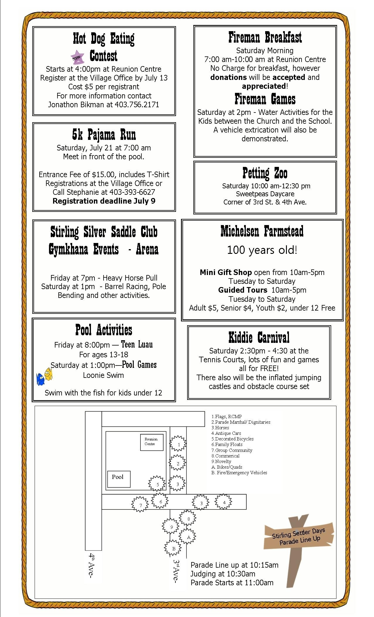 Settler Days – 2012 Schedule Of Events | Village Of Stirling  Firemans Scheule B