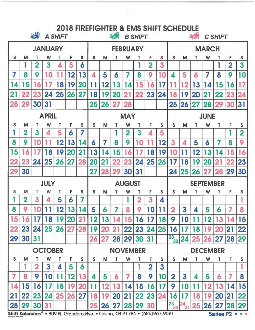 Shift Calendar — Sun City Fire And Medical Department  Phoenix Fire Shift Calendar