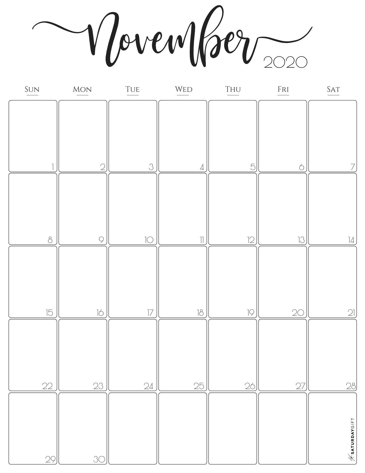 Simple & Elegant Vertical 2021 Monthly Calendar - Pretty  2020 Calendar Printable