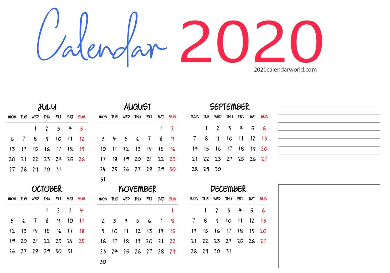 Six Month 2020 Calendar Printable Pdf |Sophiabrown | Medium  Australian 20 20 Six Month Calendars Template