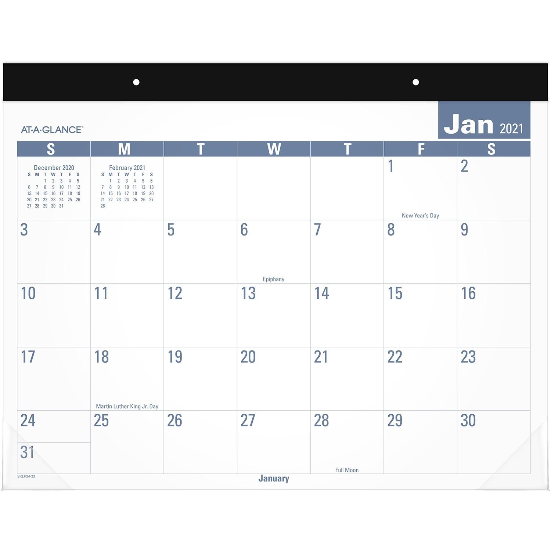 Sous-Main Calendrier Mensuel Facile À Lire At-A-Glance, 22  Calendrier Mensuel