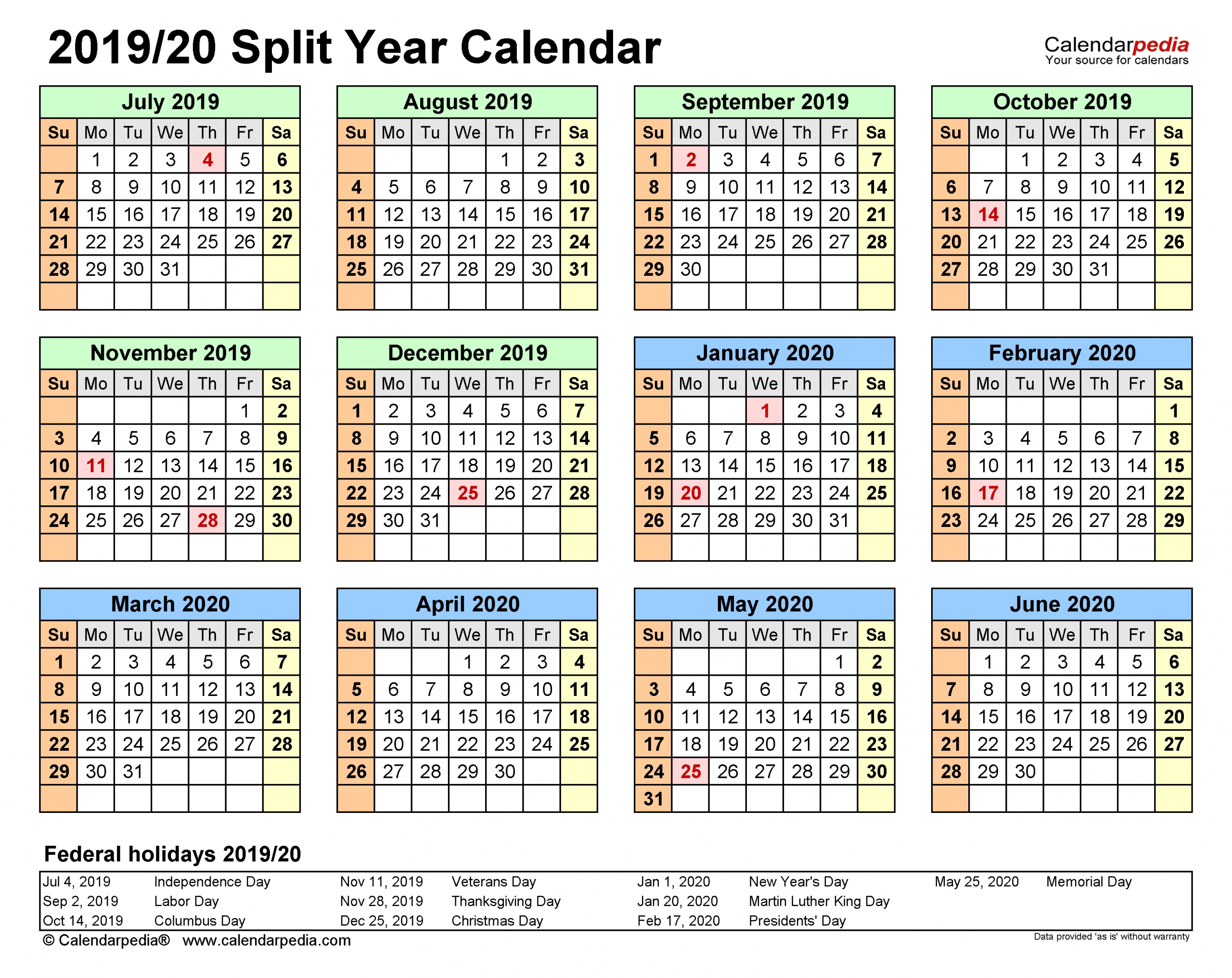 Split Year Calendars 2019/2020 (July To June) - Pdf Templates  Financial Years Dates Australia