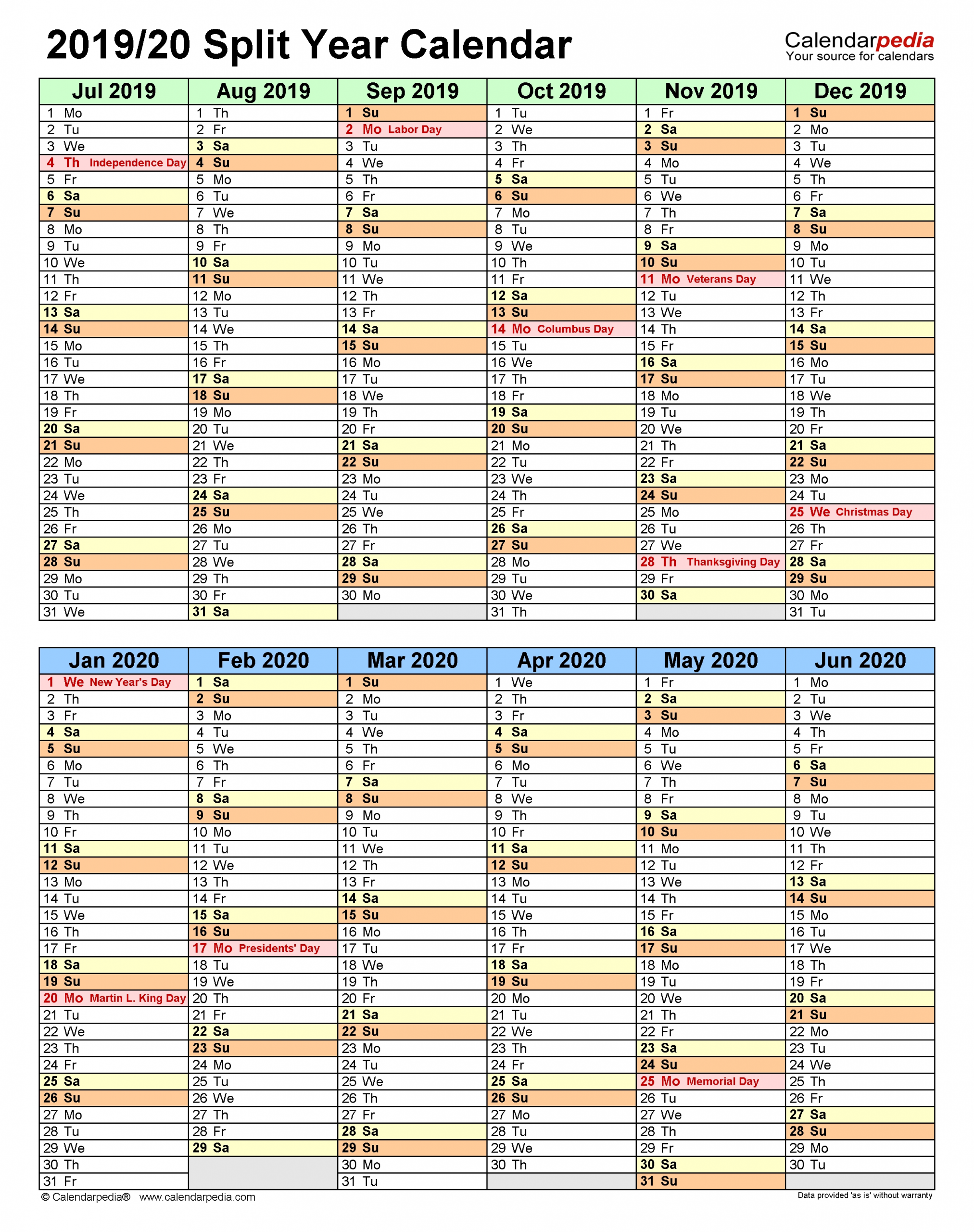 Split Year Calendars 2019/2020 (July To June) - Pdf Templates  How Many Weeks In 18-19 Financial Year