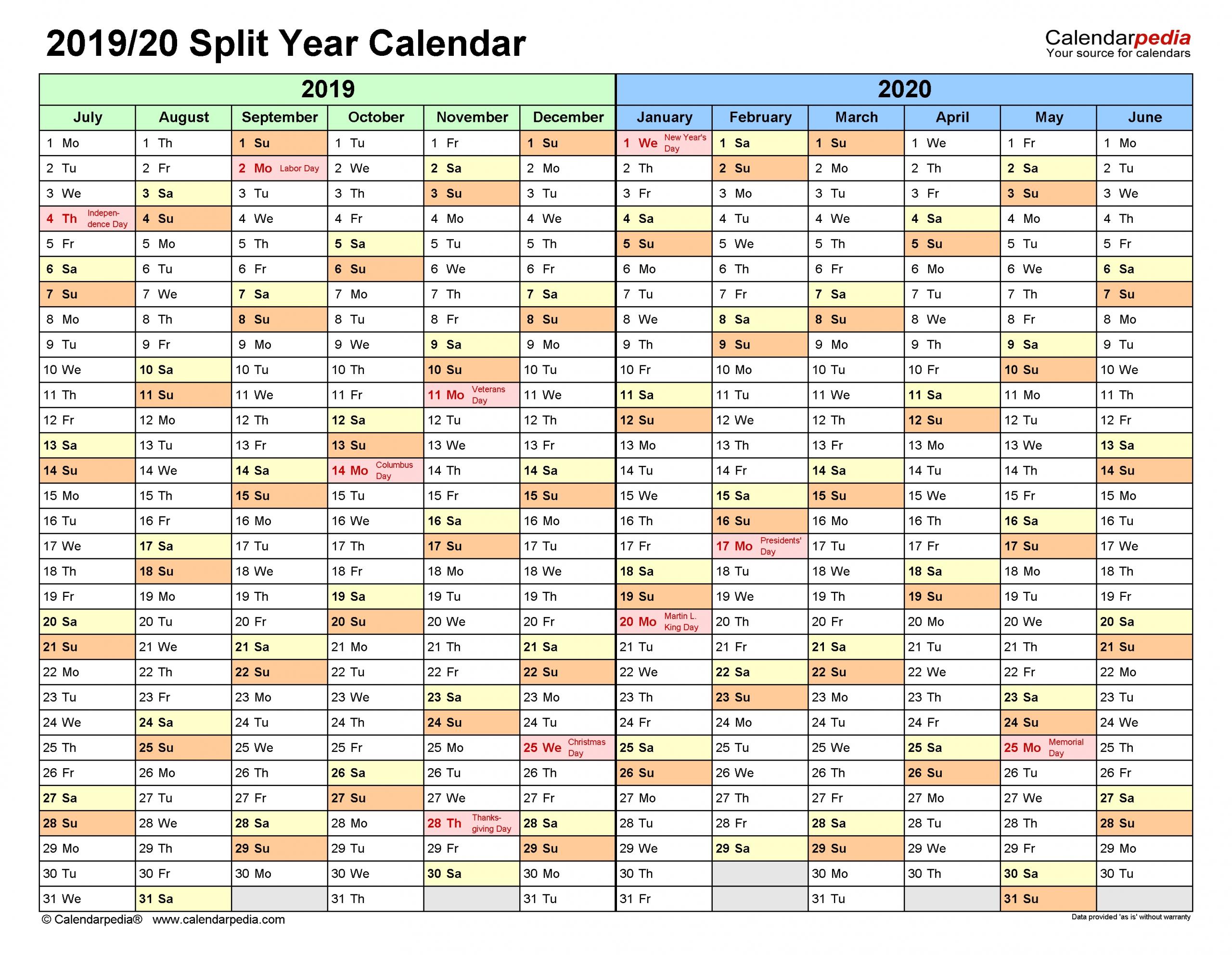 Split Year Calendars 2019/2020 (July To June) - Pdf Templates  Last Financial Year Australia