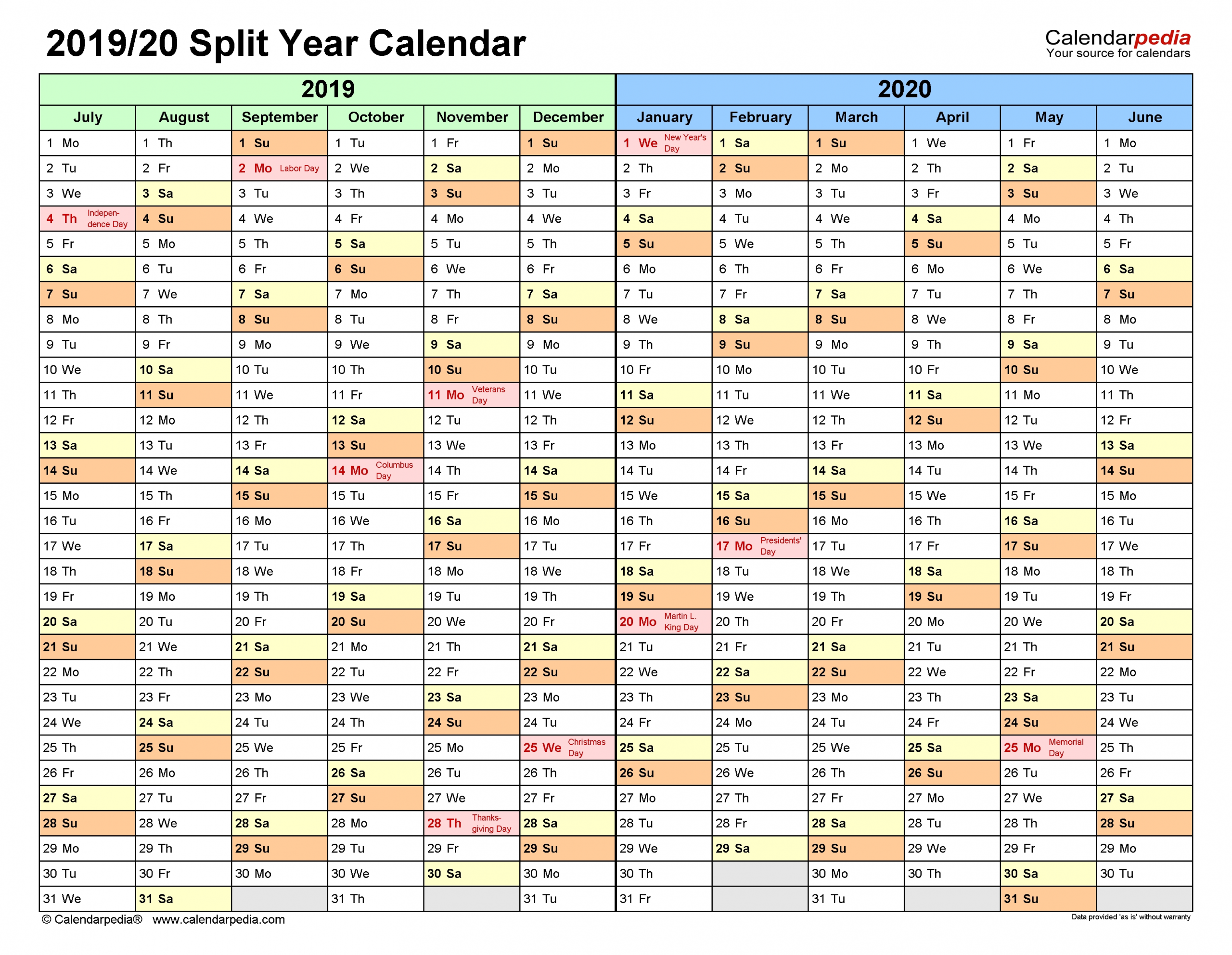 Split Year Calendars 2019/2020 (July To June) - Pdf Templates  What Financial Year Is It In Australia