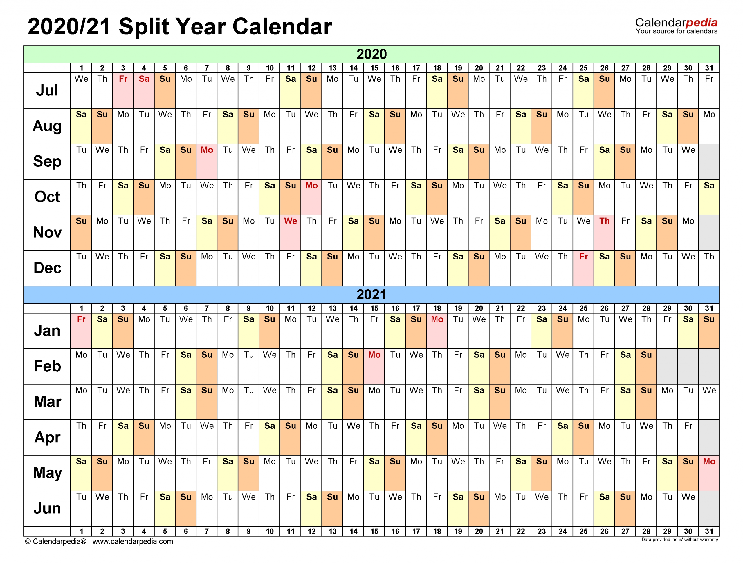 Split Year Calendars 2020/2021 (July To June) - Word Templates  Free Printable 2021/21 Split Year Calendar