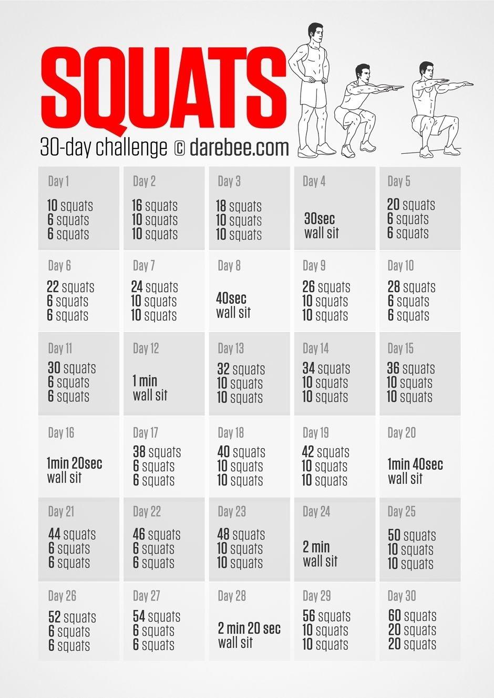 Squat Challenge | Squat Challenge, 30 Day Squat, 30 Day  Fitness Challenges Pdf