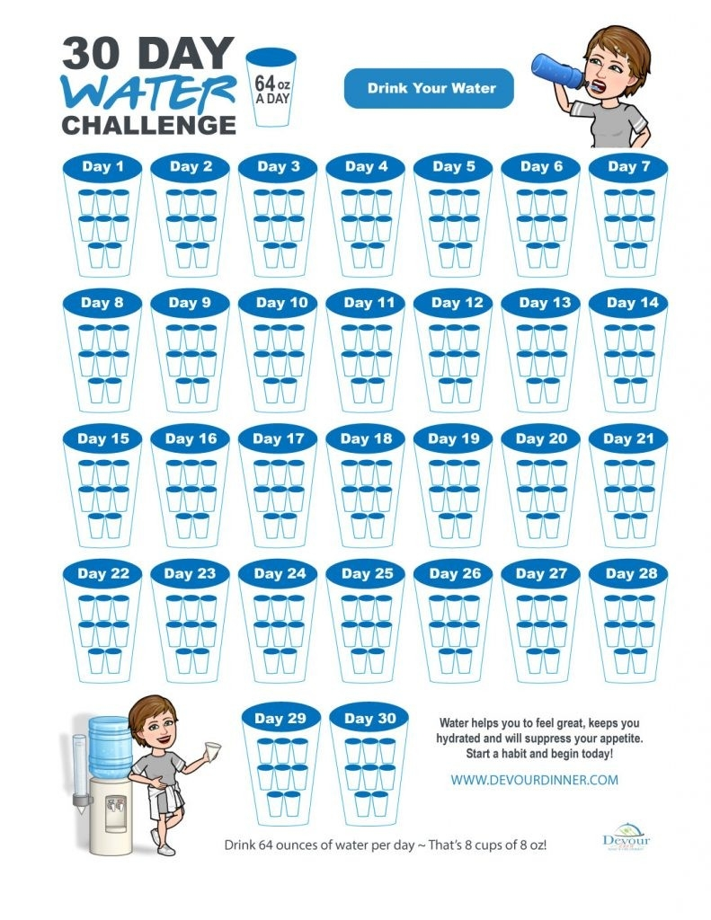 Start Hydrate Yourself To A 30 Day Water Challenge With Free  Water Challenge Calendar