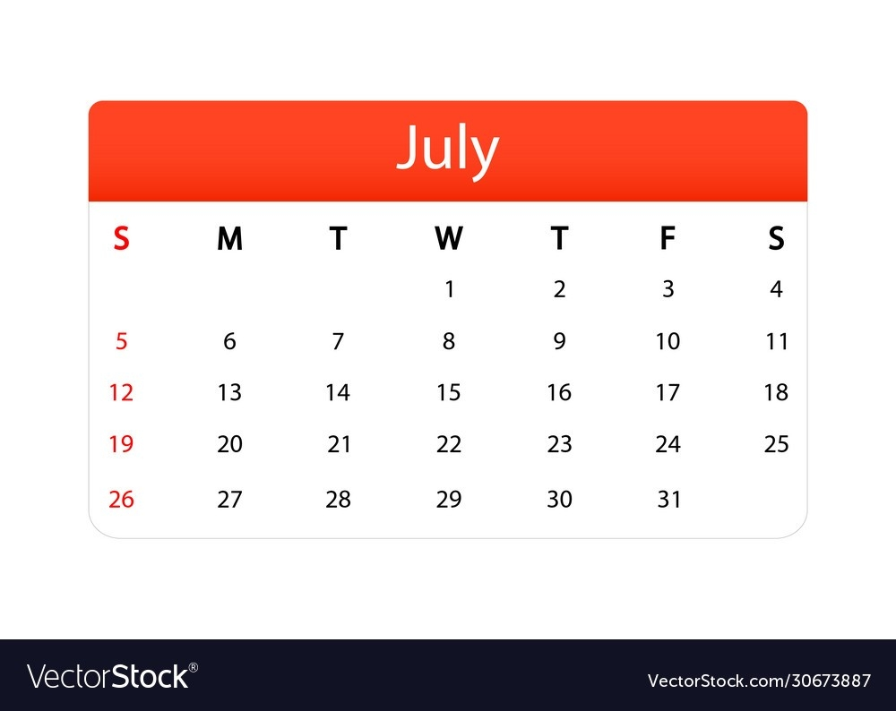 Summer Calendar Isolated Icon July 2020 Month Vector Image  3 Month Summer Calendar