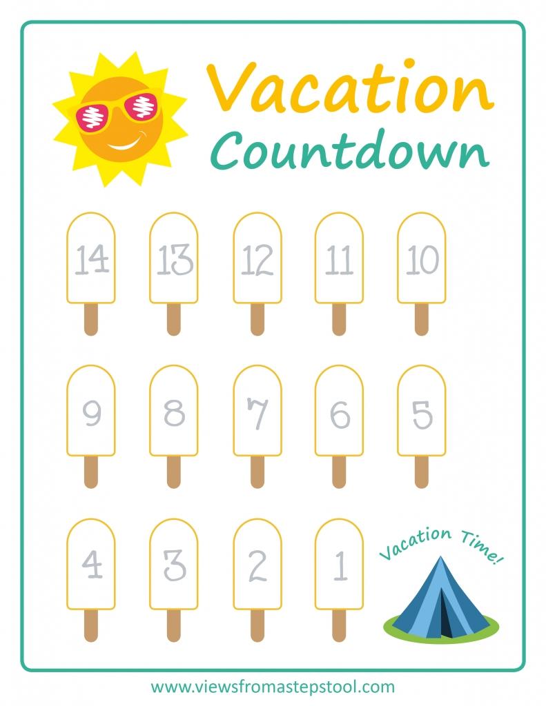 Summer Vacation Countdown Printables | Vacation Countdown  Vacation Countdown Calendar