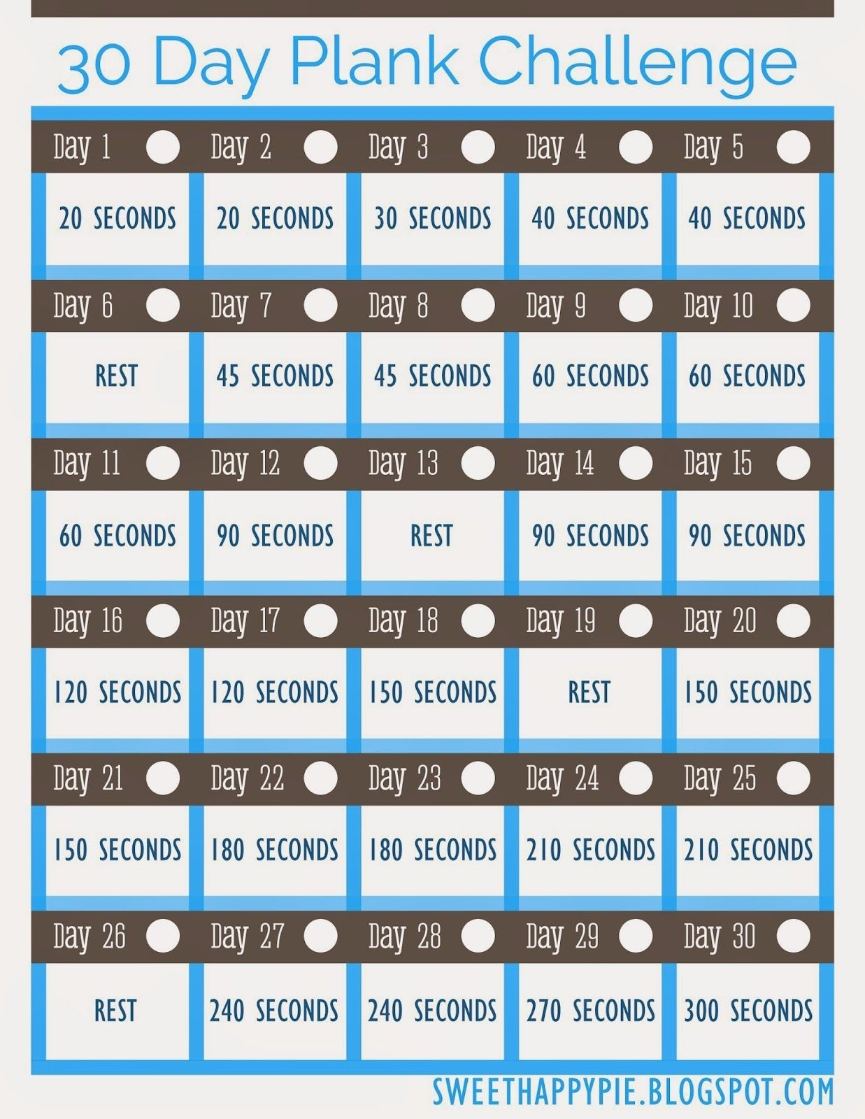 Sweet Happy Pie: 30 Day Plank Challenge ~ Free Pretty  30 Day Fitness Challenge Printable For Studios