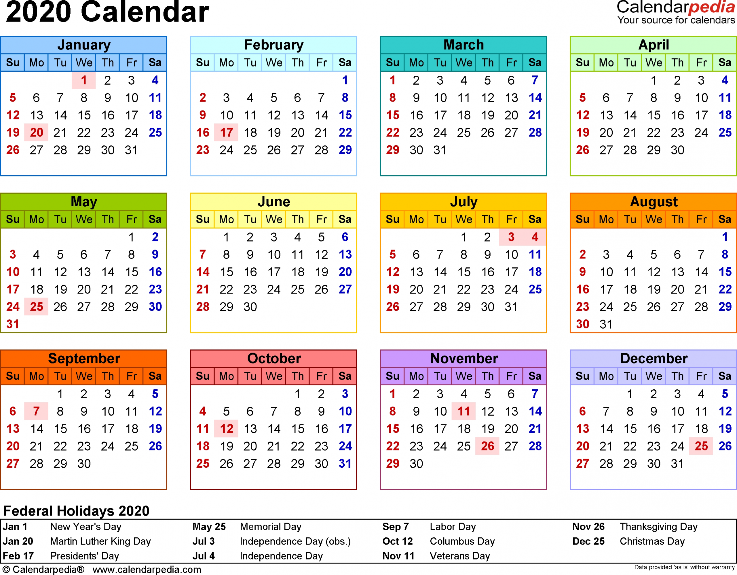 Template 8: 2020 Calendar For Word, Year At A Glance, 1 Page  Windows 7 Word Horizontal Calendar Template