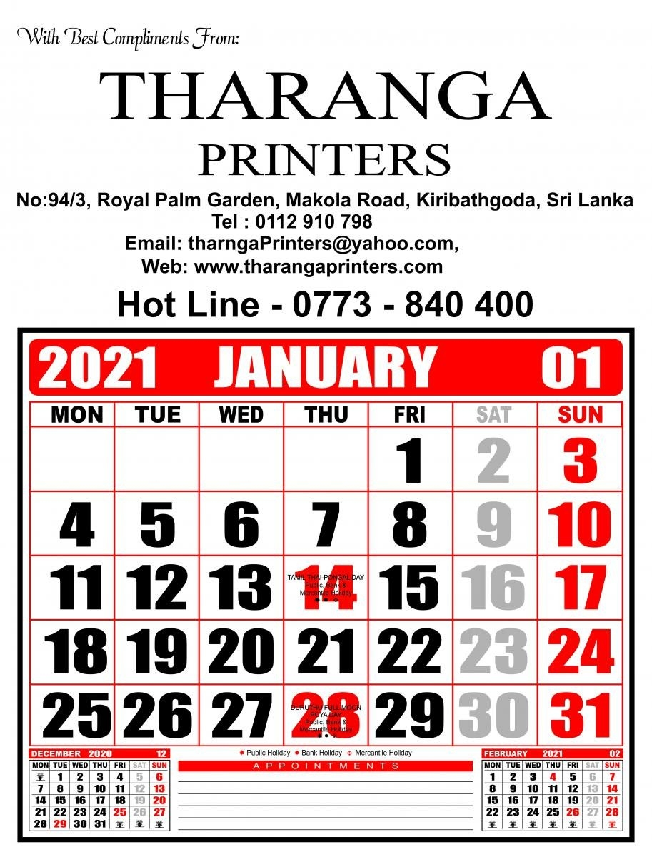 Tharanga Printers - Leading In Offset Printing In Sri Lanka  2021 Calender With Mercantile  Holidays