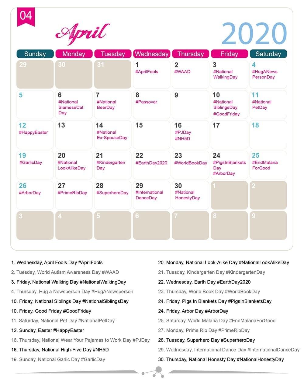 The 2020 Social Media Holiday Calendar - Make A Website Hub  Printable National Day List 2020