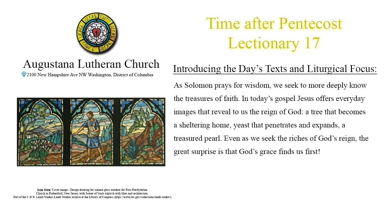 Time After Pentecost - Lectionary 17 - July 26, 2020  Show Lectionary For 2020