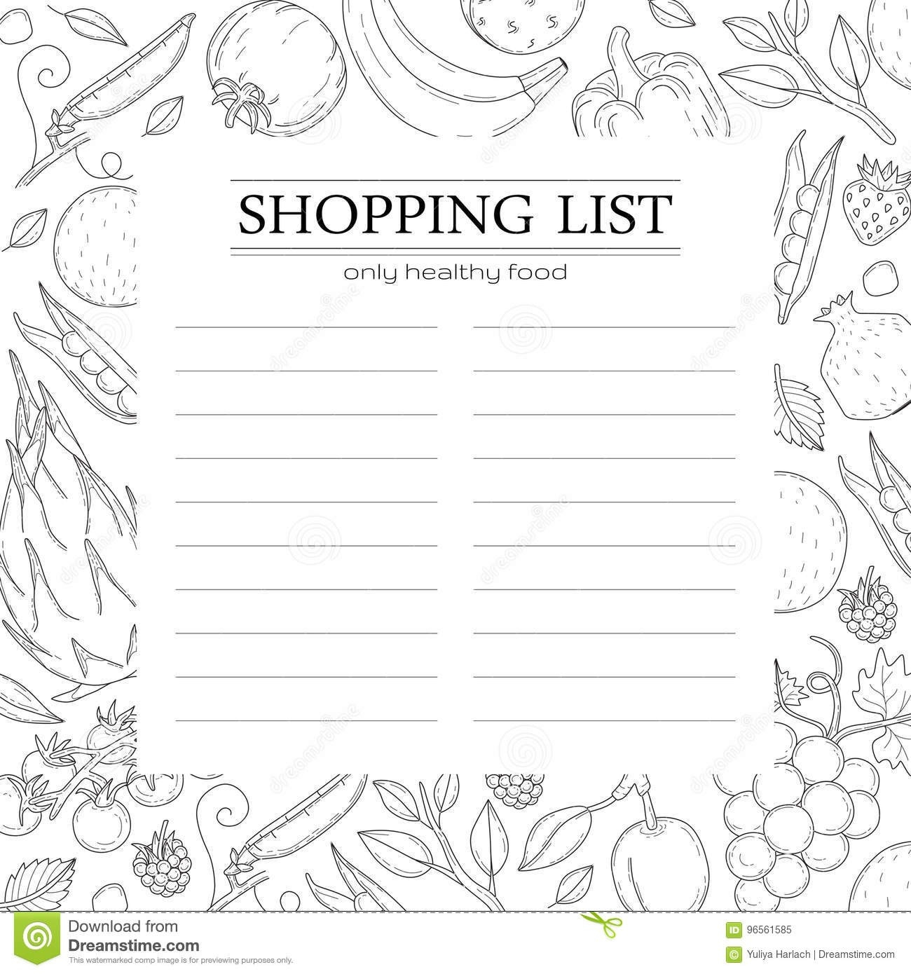 Trendy Shopping List Template With Vegetables. Stock Vector  Shopping List Шаблон