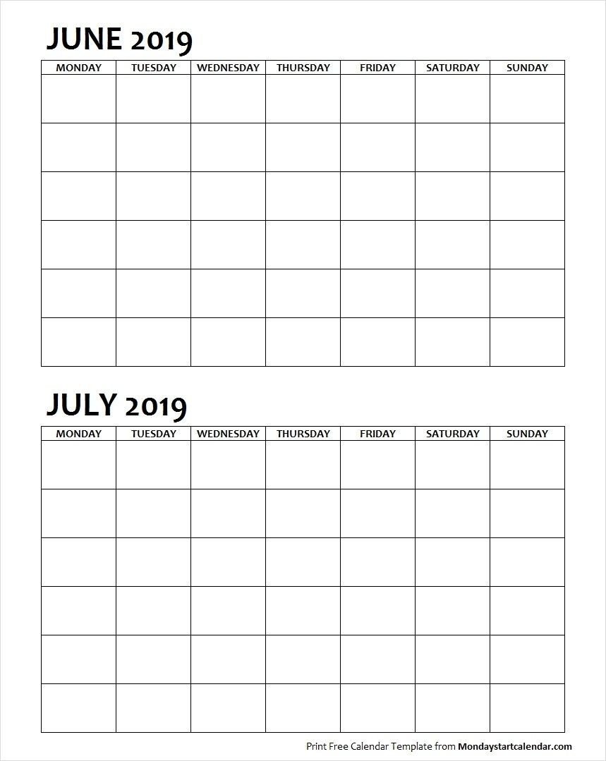 Two Month June July 2019 Calendar Blank | Two Months  Two-Month Calendar Printable