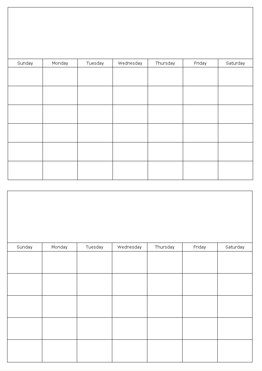 Two Months On A Page Blank Calendar Template  Printable 2 Month Calendar