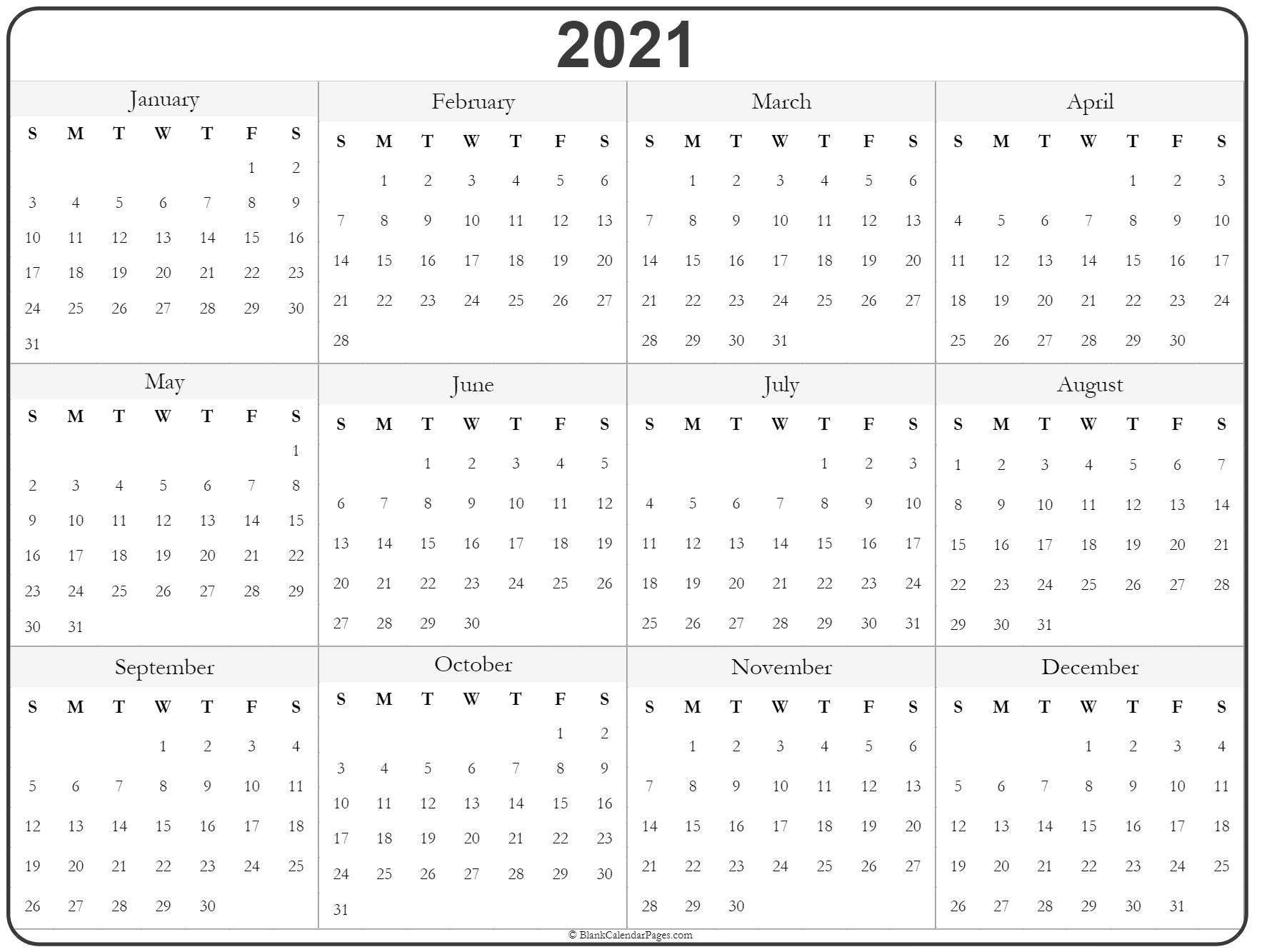 Universal Print Online Calendar 2021 Blank – Pleasant For  Printable 2021 Year Grid Style