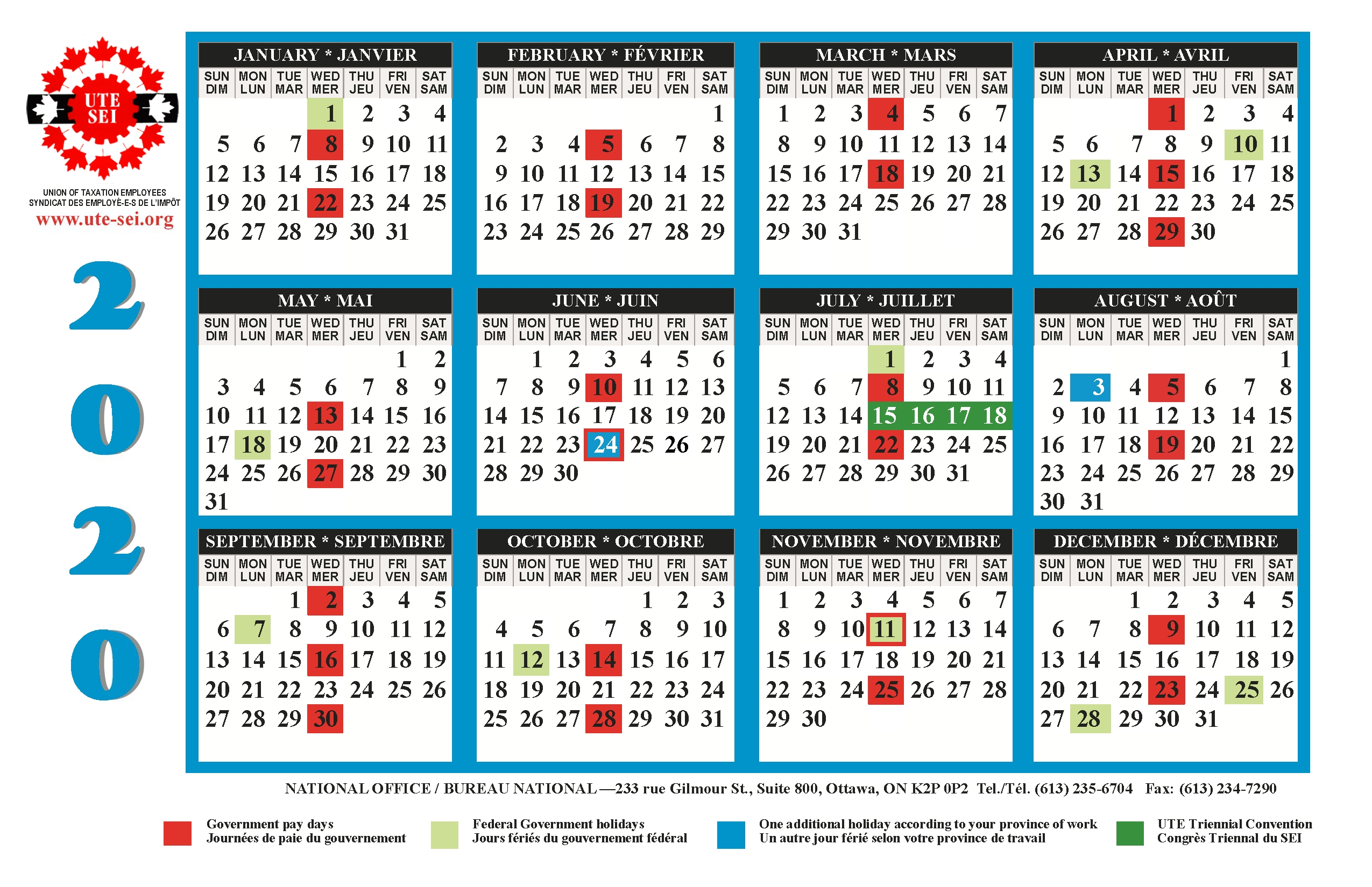 Ute 2019-2020 Calendar | Union Of Taxation Employees  Federal Government Pay Calendar With Holidays