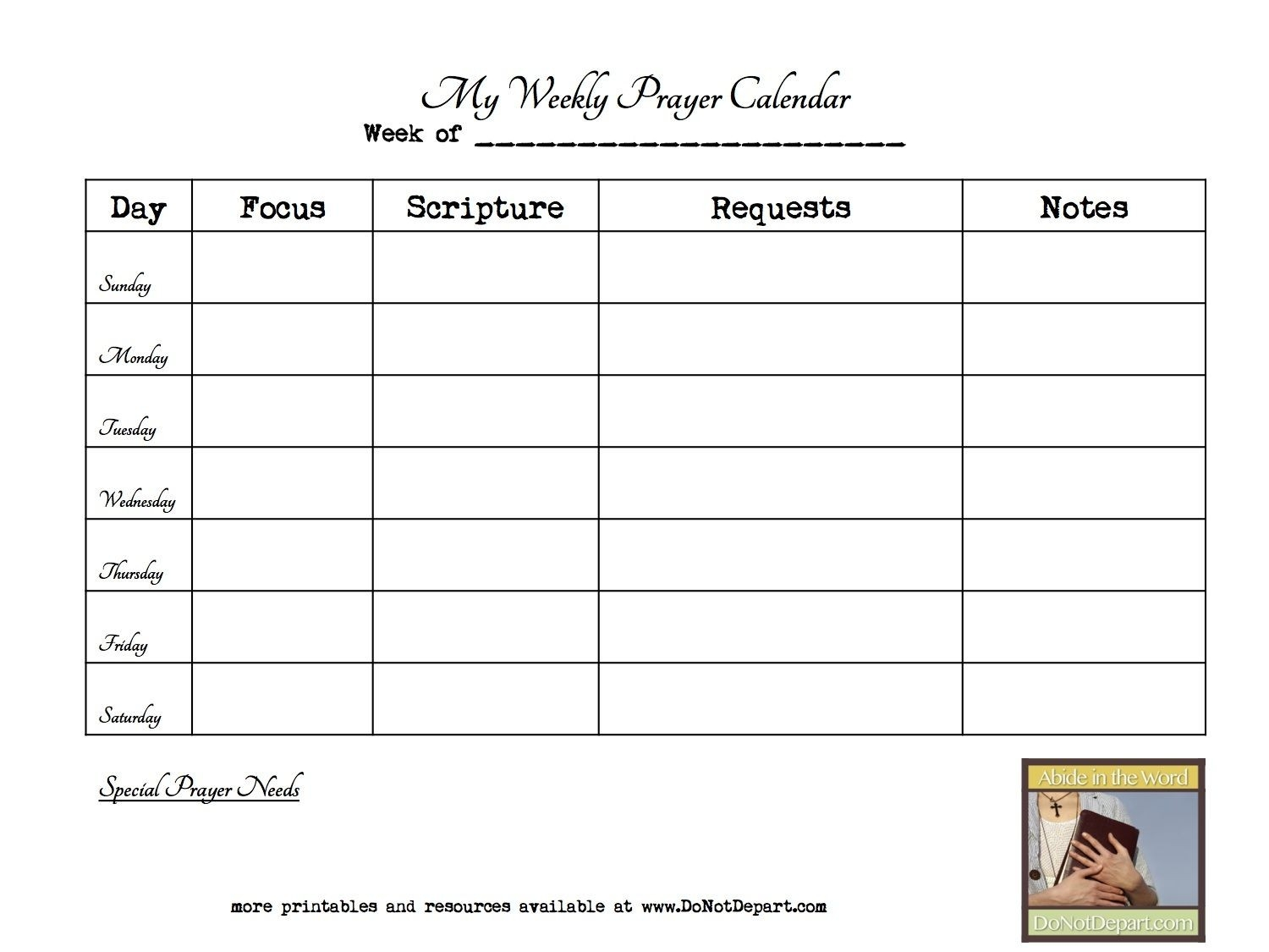 Visit The Post For More.   Prayer Journal Template, Personal  Calender With Scriptures Template