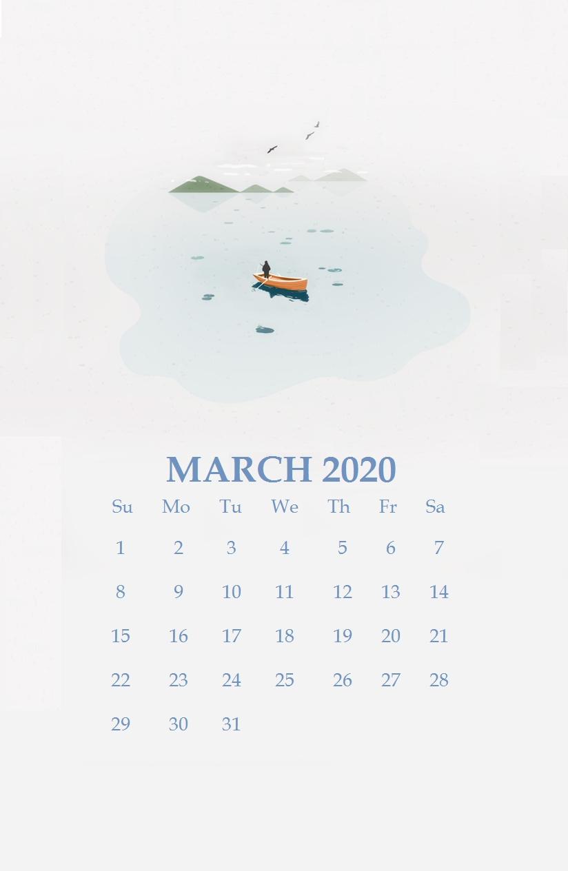 Watercolor March 2020 Iphone Wallpaper In 2020 | Calendar  Printab30 Day Water Chae