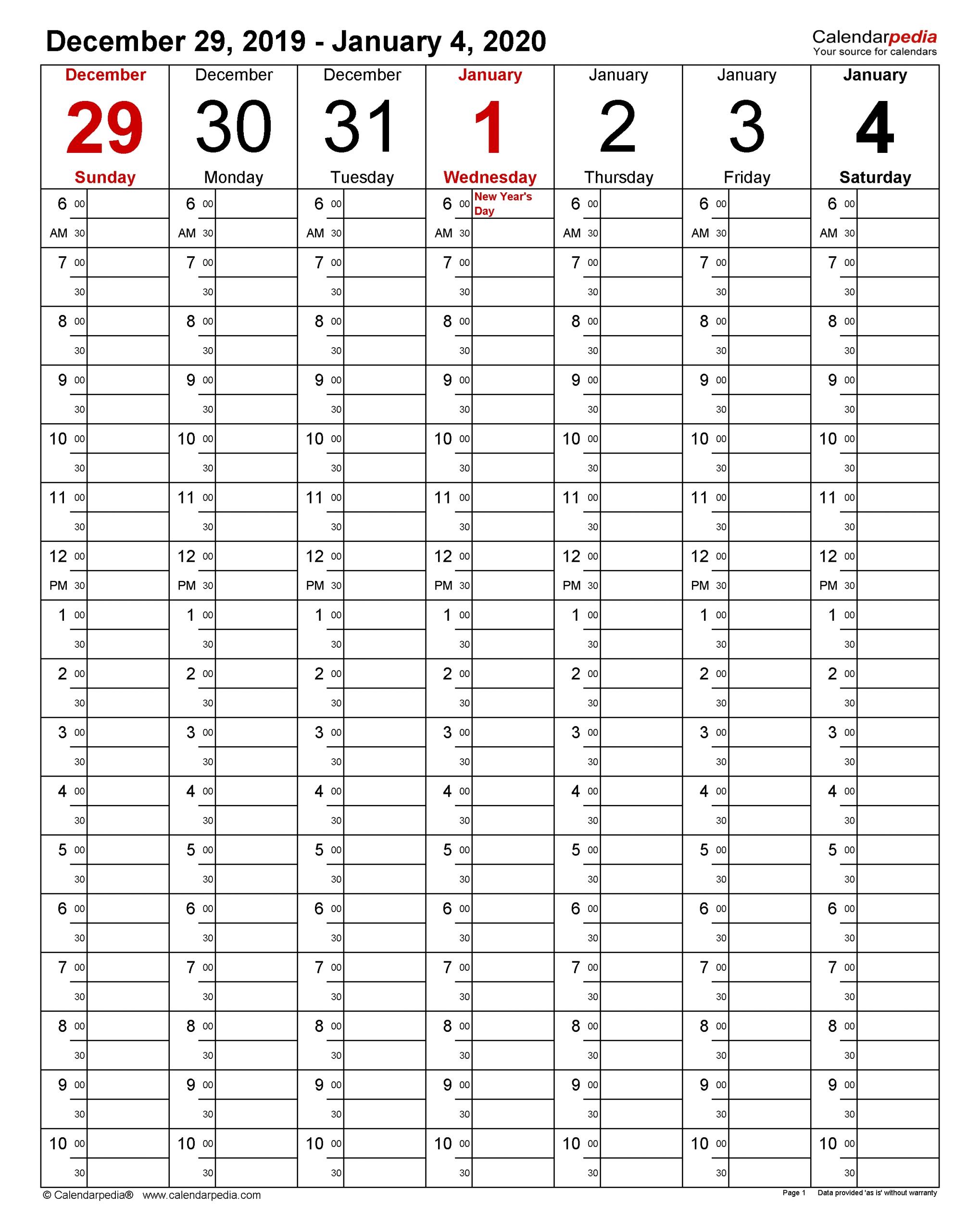 Weekly Calendars 2020 For Excel - 12 Free Printable Templates  Excel Calendar Week