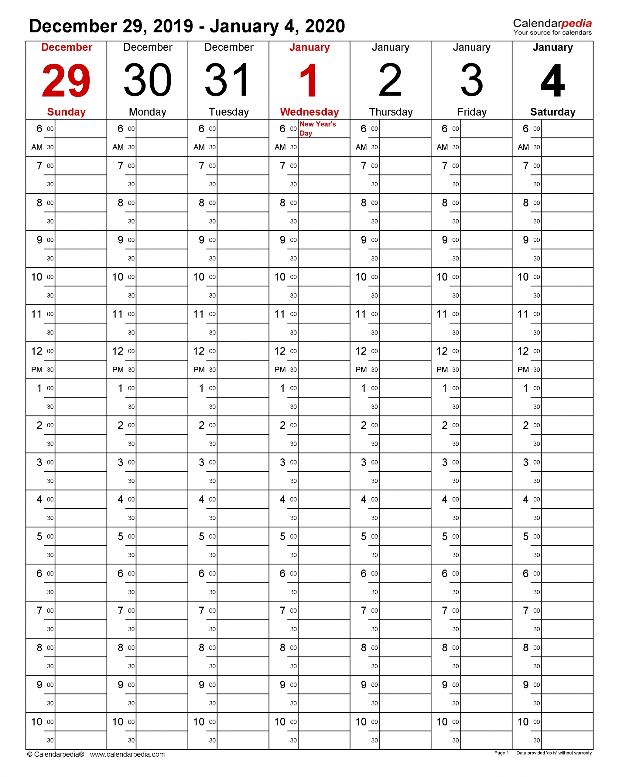 Weekly Calendars 2020 For Pdf - 12 Free Printable Templates  2020 Weekly Calendar