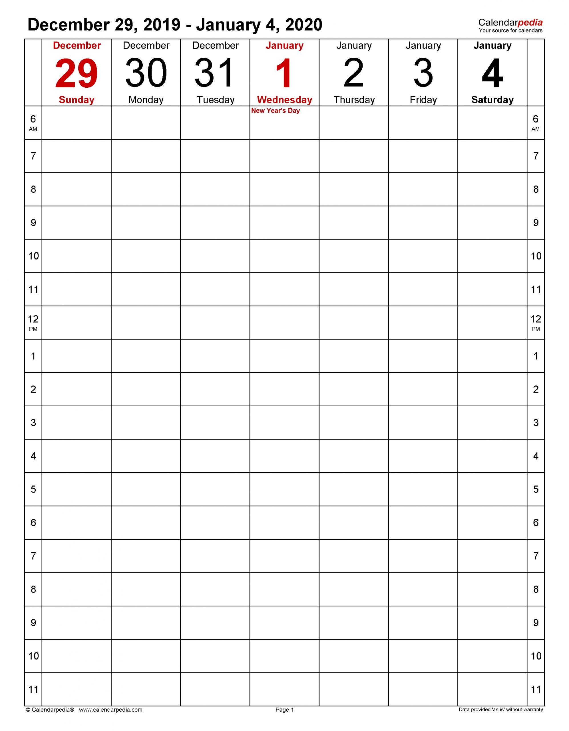 Weekly Calendars 2020 For Word - 12 Free Printable Templates  2020 Weekly Calendar