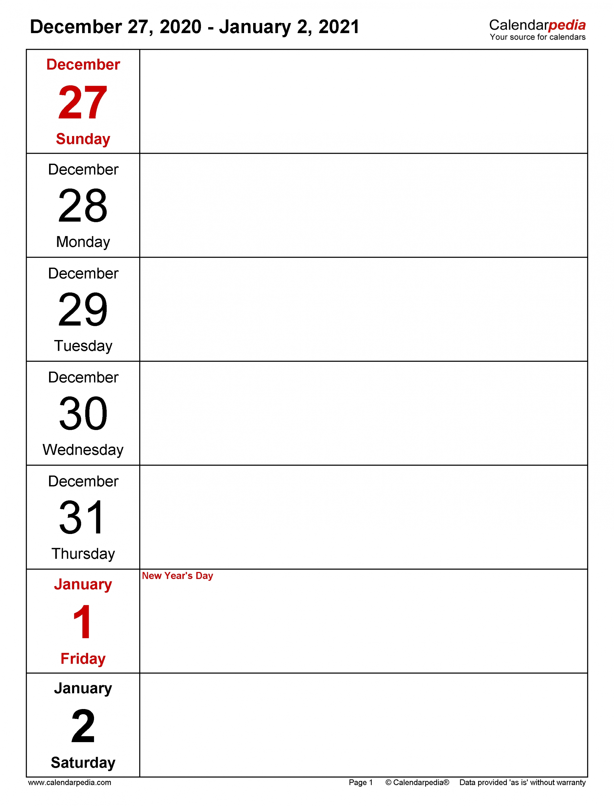 Weekly Calendars 2021 For Pdf - 12 Free Printable Templates  5 Day Week Printable Calendars 2021