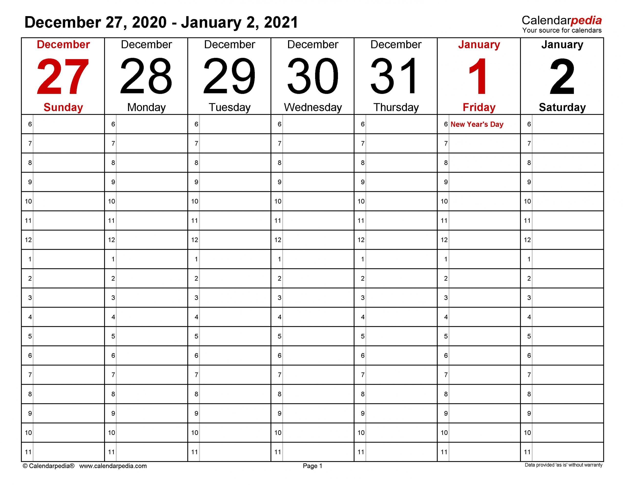 Weekly Calendars 2021 For Word - 12 Free Printable Templates  2021 Printable Hourly Calendar