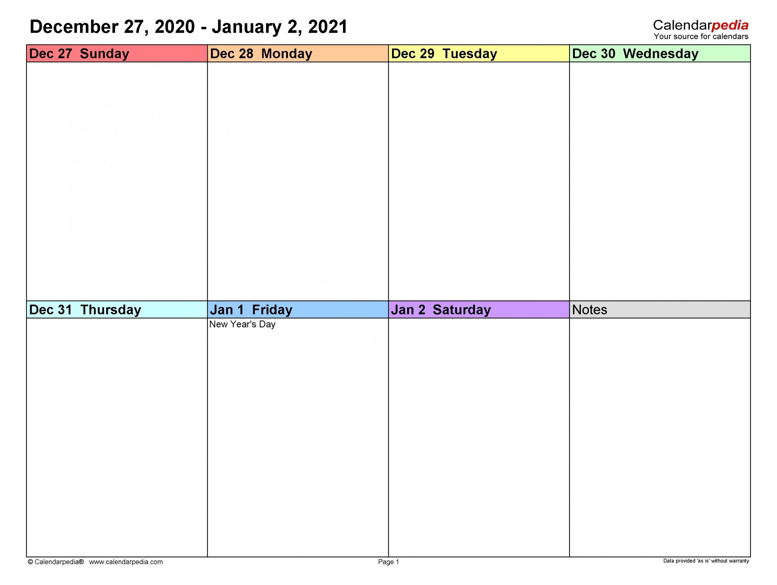 Weekly Calendars 2021 For Word - 12 Free Printable Templates  Printable Weekly Calendar Templates Free 2021