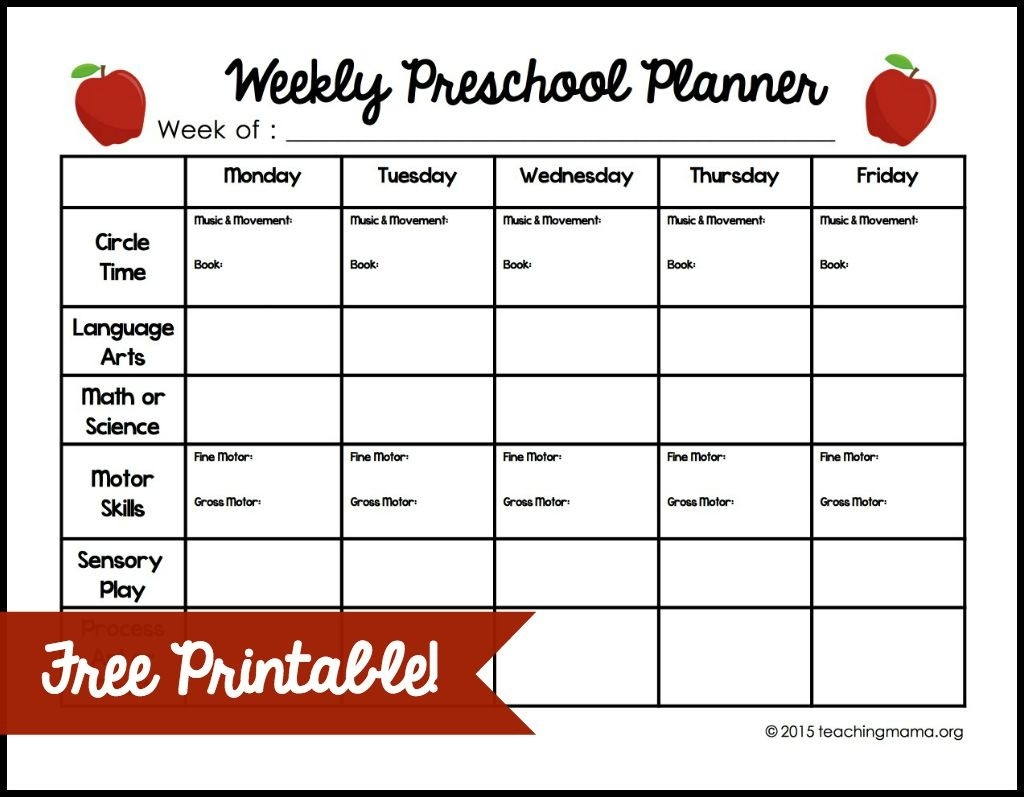 Weekly Preschool Planner  Monthly Lesson Plan Calendar