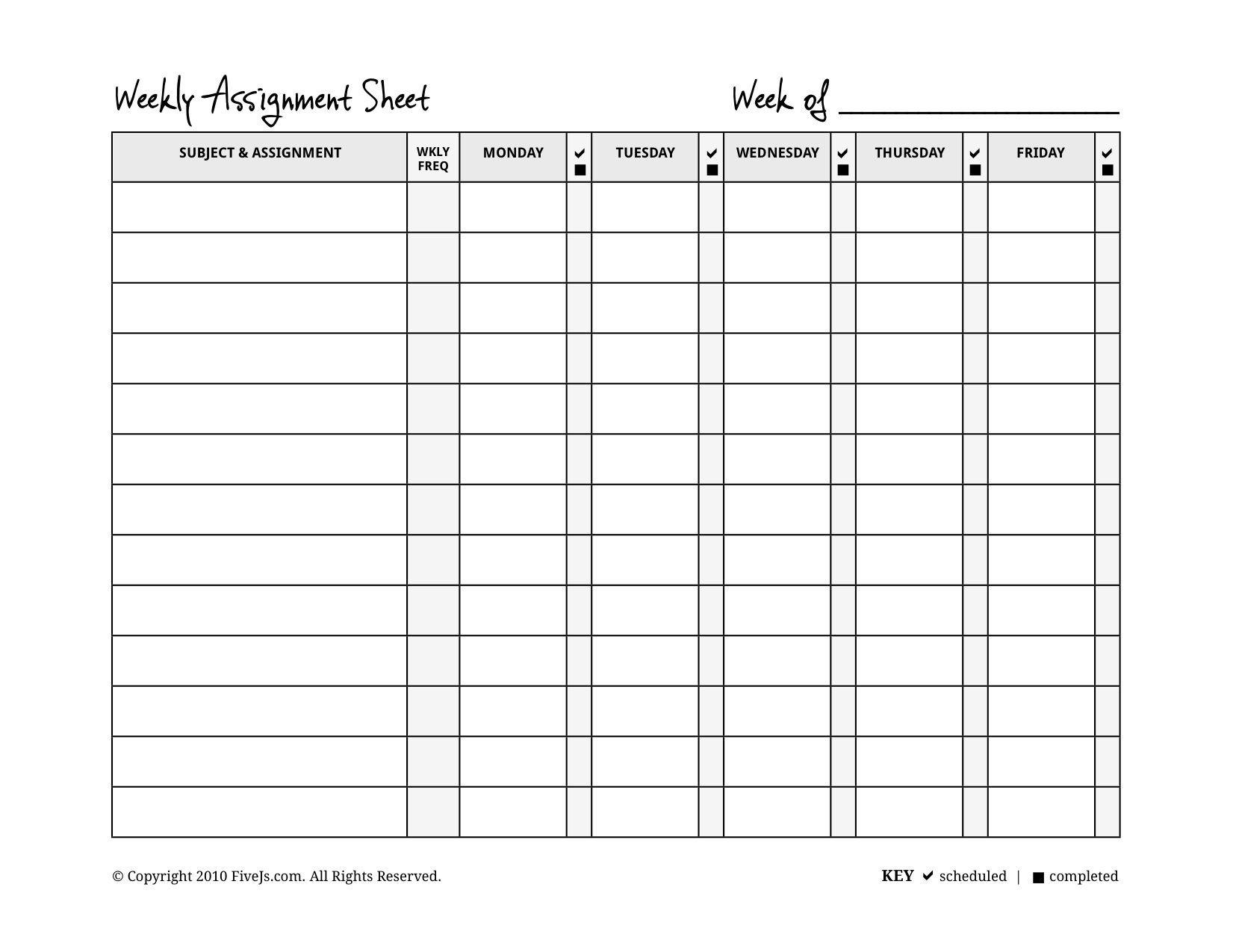 Weeklyassignmentform 1,651×1,275 Pixels | Assignment  Blank Assignment Sheet