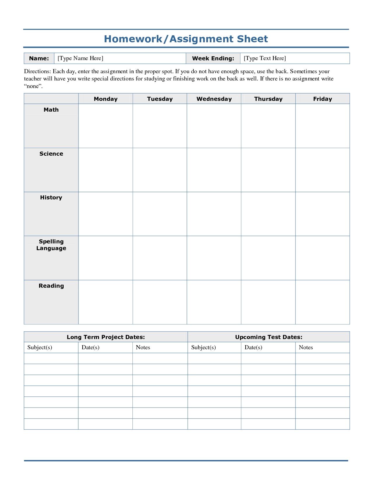 Weekly+Homework+Assignment+Sheet+Template | Homework Sheet  Blank Assignment Sheet