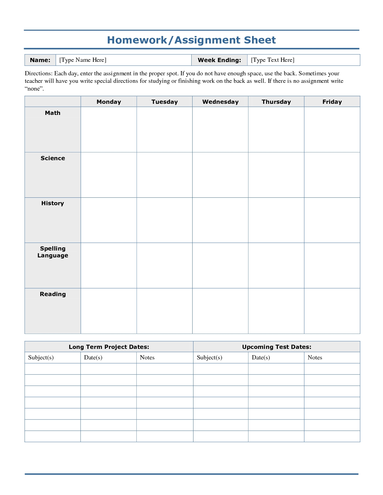 Weekly+Homework+Assignment+Sheet+Template | Homework Sheet  Homework Templates Free