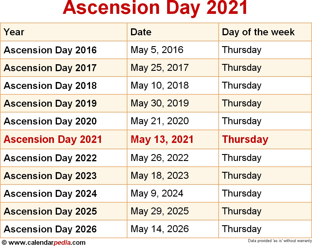 When Is Ascension Day 2021?  United Methodist Calendar Of Special Sundays 2021