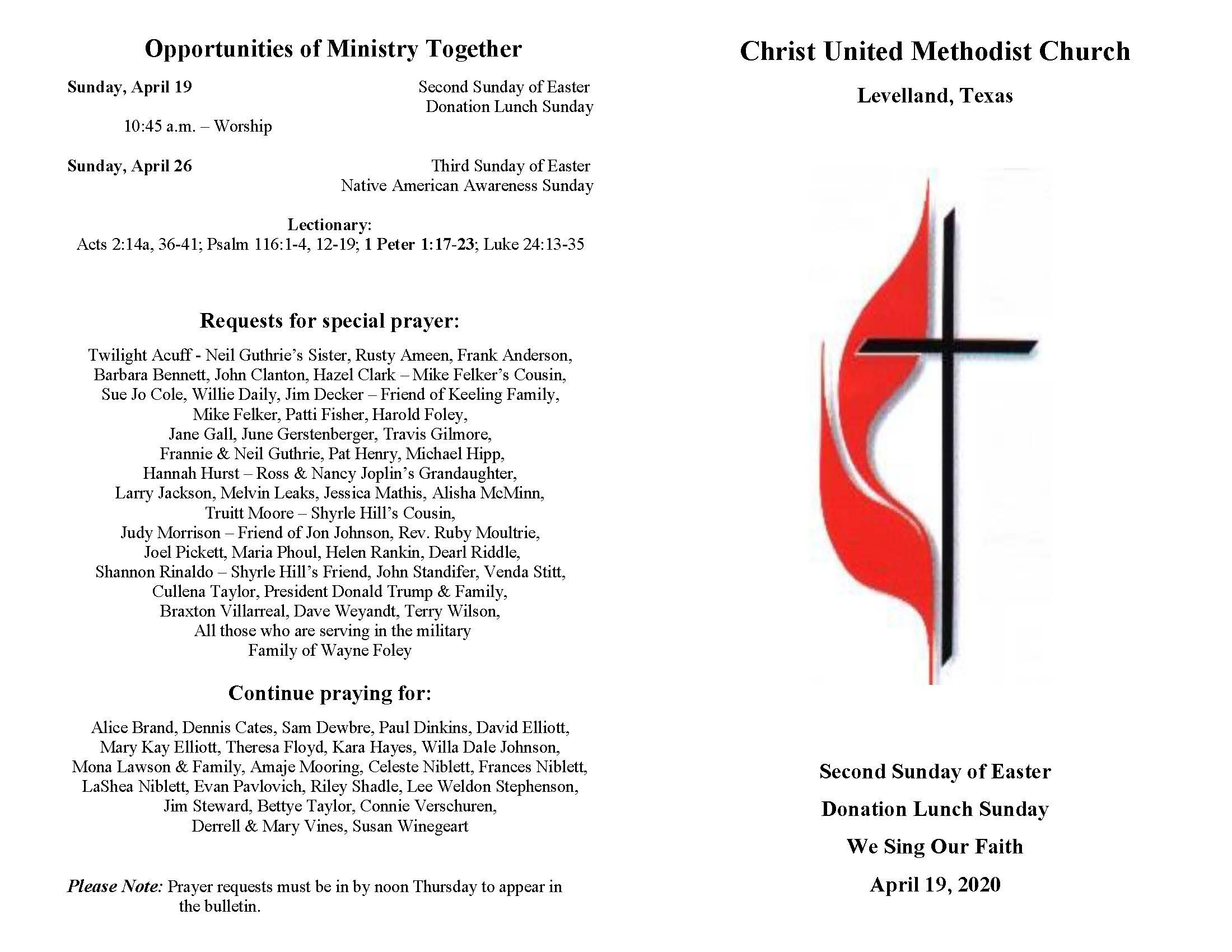 Worship Services | Christ United Methodist Church  Lectonary For March 1 2020 For United Methodist