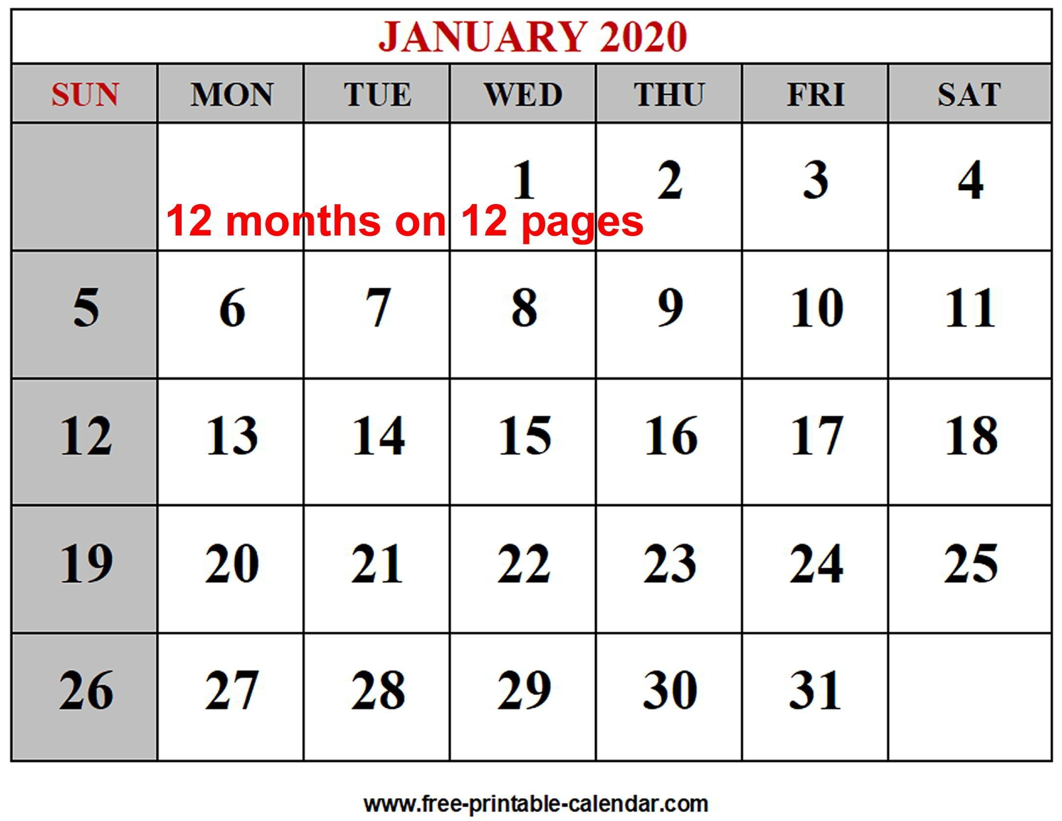 Year 2020 Calendar Templates - Free-Printable-Calendar  Free Printable Calendar 12 Months
