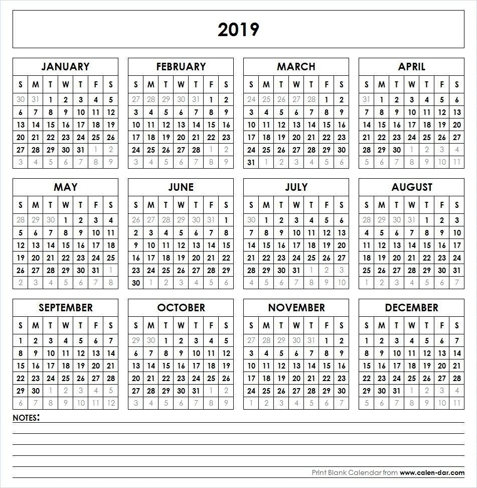Yearly 2019 Calendar Printable  Checkbook Size Calendar Printable