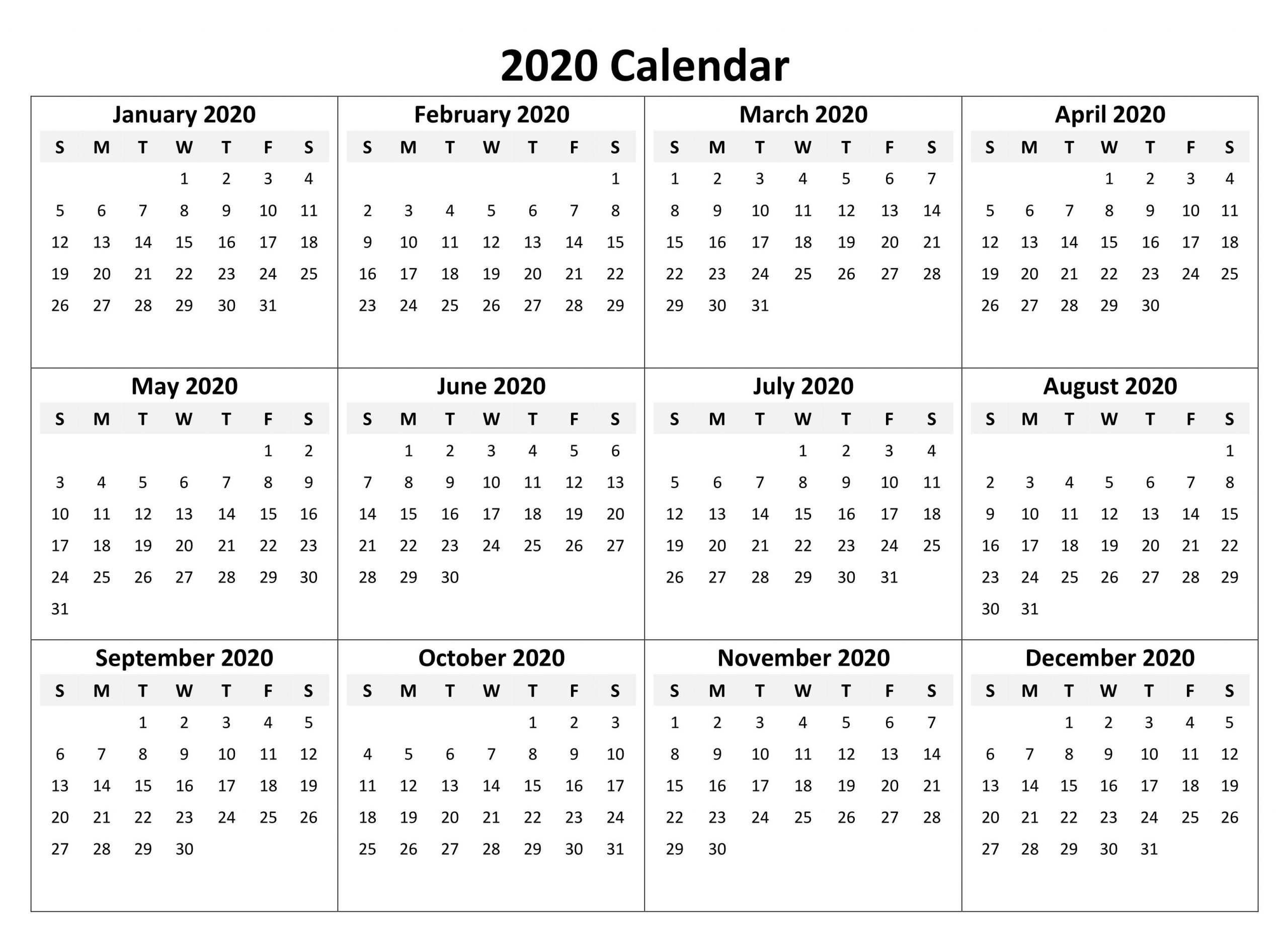 Yearly Calendar 2020 Free Download | Printable Yearly  2020 Calendar Printable